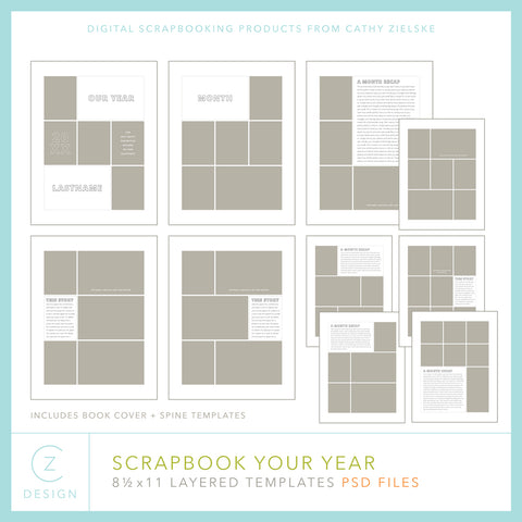 Scrapbook Your Year 8.5 x 11 Templates