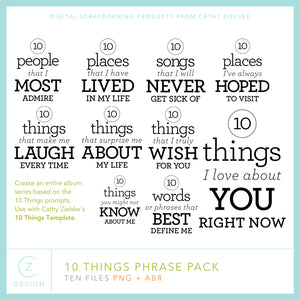 10 Things Phrase Pack Digital Stamps
