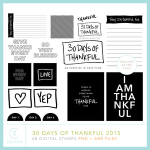 30 Days of Thankful 2015 Digital Stamps