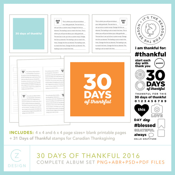 30 Days of Thankful 2016 Album Template Set