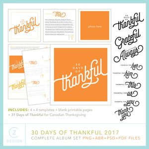 30 Days of Thankful 2017 Album Template Set