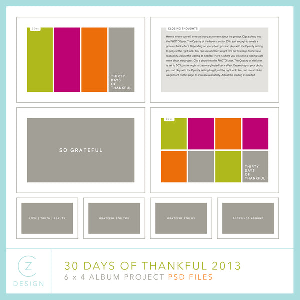 30 Days of Thankful 2013 Album Template Set (6 x 4)