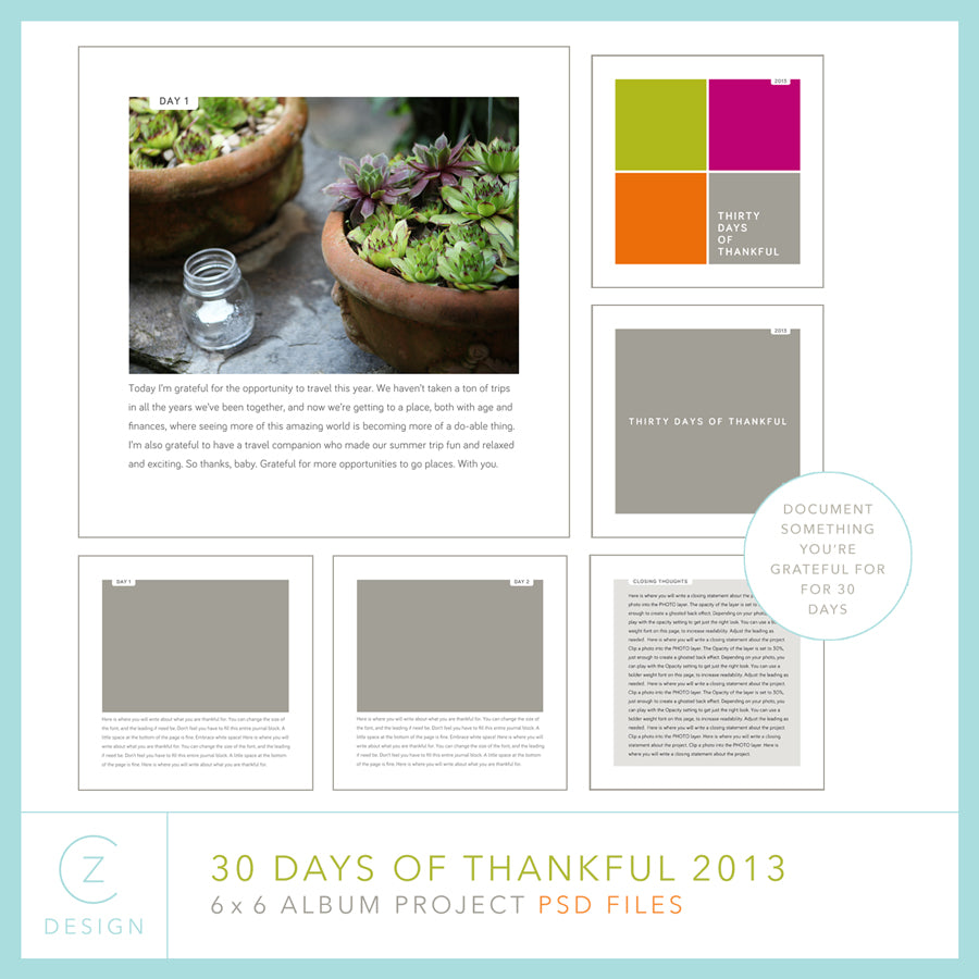30 Days of Thankful 2013 Album Template Set (6 x 6)