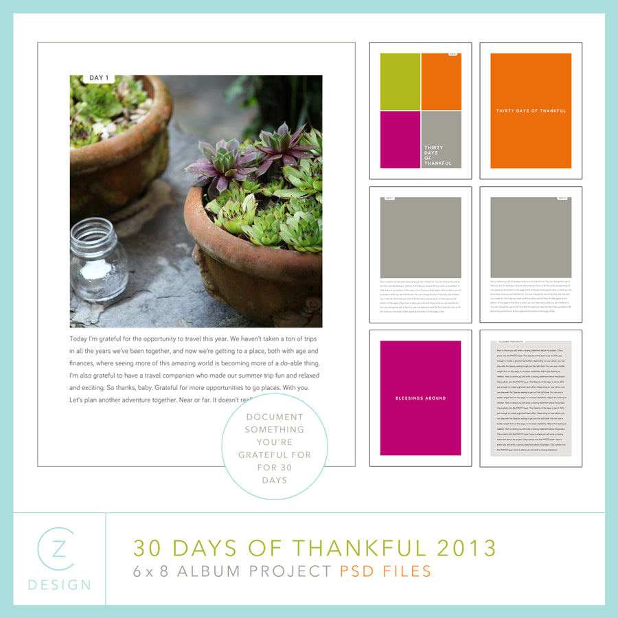 30 Days of Thankful 2013 Album Template Set (6 x 8)