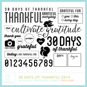 30 Days of Thankful 2014 Digital Stamps