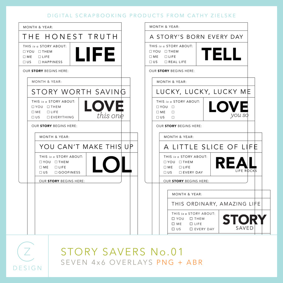 4 x 6 Story Savers Overlays 01 Digital Stamps