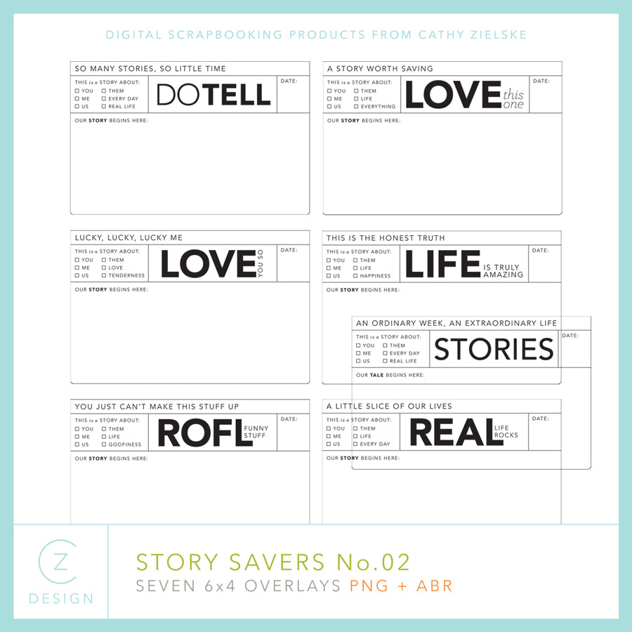 4 x 6 Story Savers Overlays 02 Digital Stamps