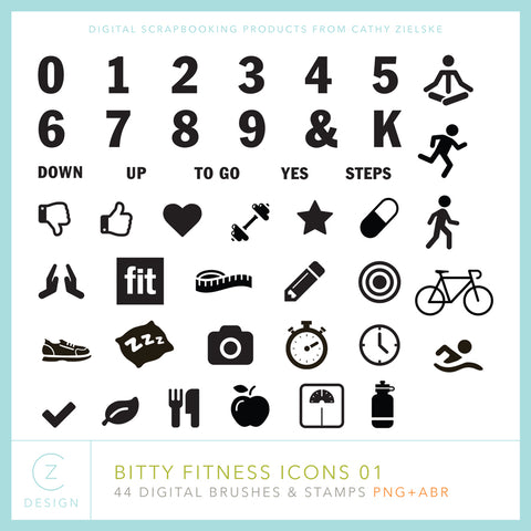 Bitty Fitness Digital Stamps