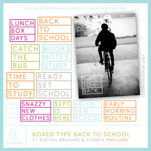Boxed Type Back to School Digital Stamps
