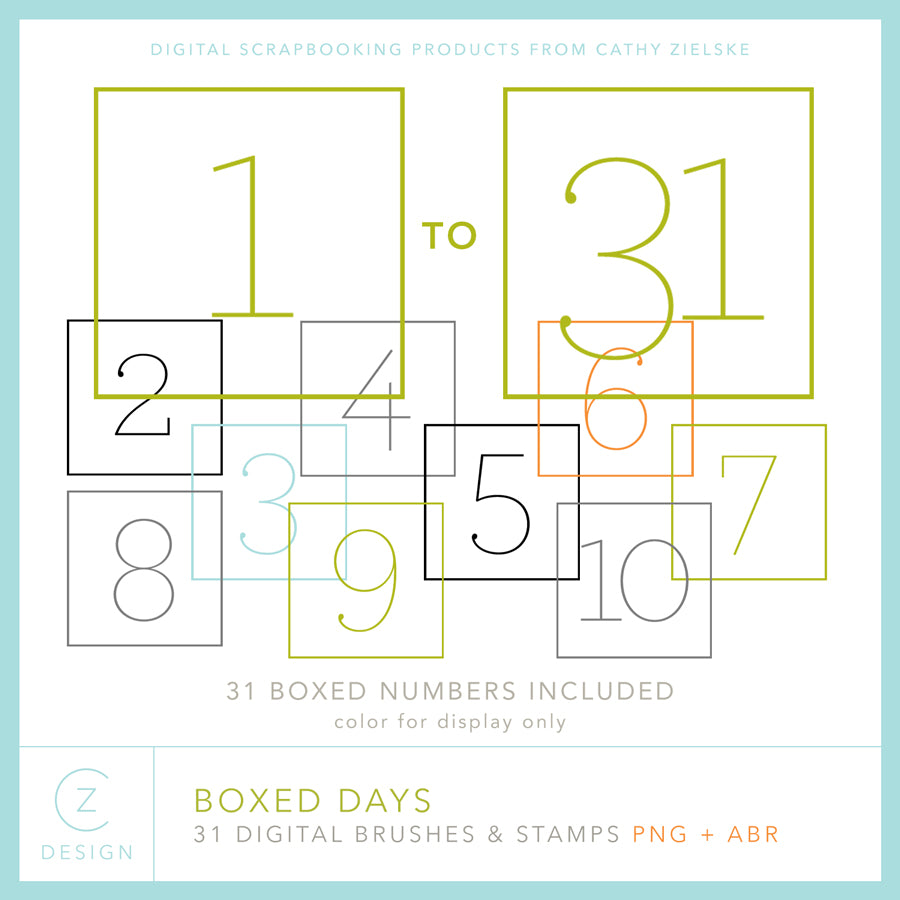 Boxed Days Digital Stamps