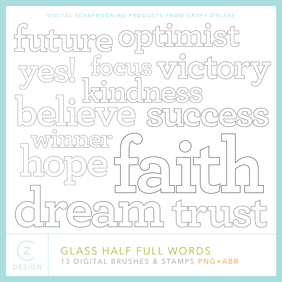 Glass Half Full Words Digital Stamps