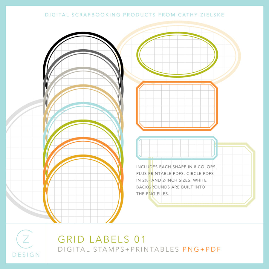 Grid Labels Digital Stamps