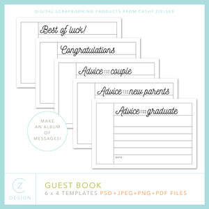 CZ Guest Book 6 x 4 Template Set