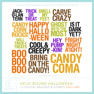 Helvi Round Halloween Digital Stamps
