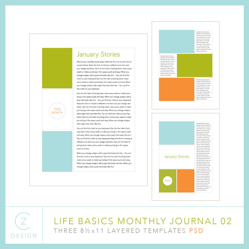 CZ Life Basics Minimal Journal Template Set 02