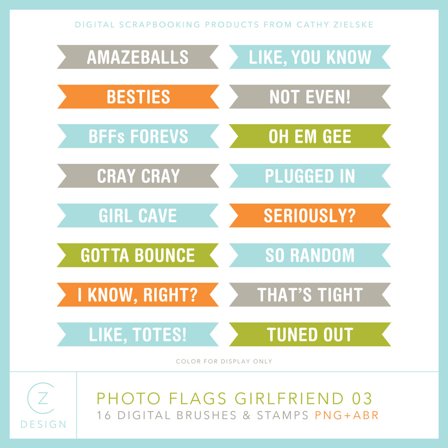 Photo Flags Girlfriend 03 Digital Stamps
