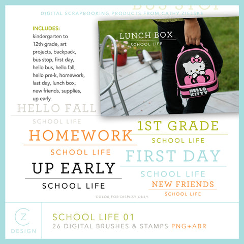 School Life 01 Digital Stamps