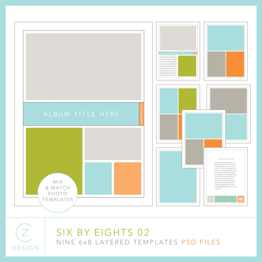 Six by Eights 02 Album Template Set