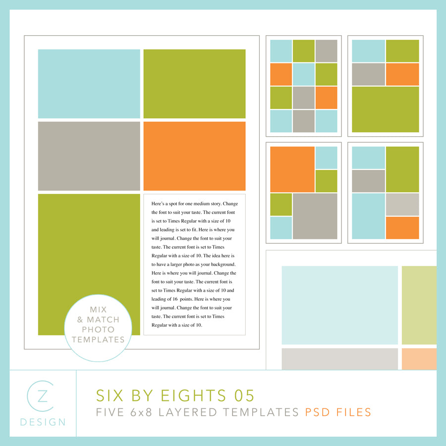 Six by Eights 05 Album Template Set
