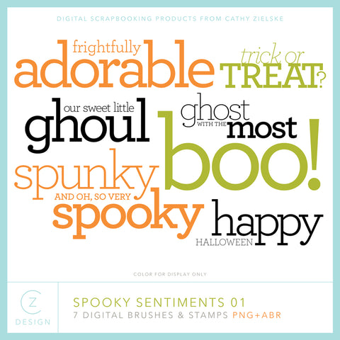 Spooky Sentiments 01 Digital Stamps