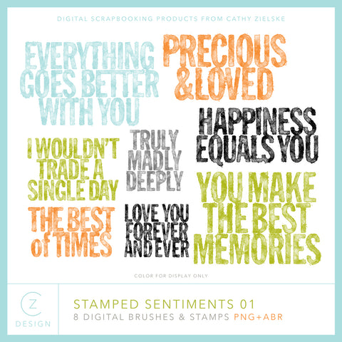 Stamped Sentiments 01 Digital Stamps