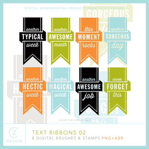 Text Ribbons 02 Digital Stamps