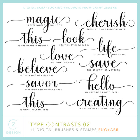 Type Contrasts 02 Digital Stamps