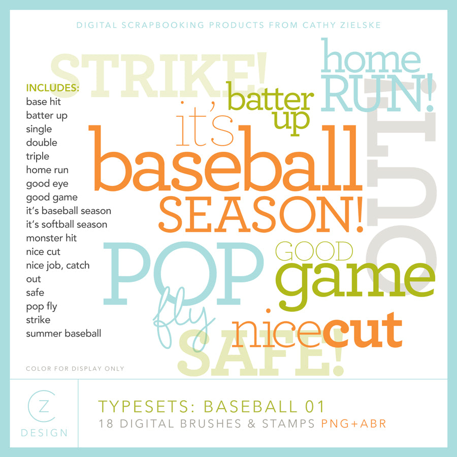 Typesets: Baseball 01 Digital Stamps