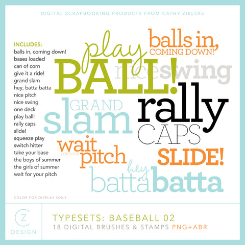 Typesets: Baseball 02 Digital Stamps