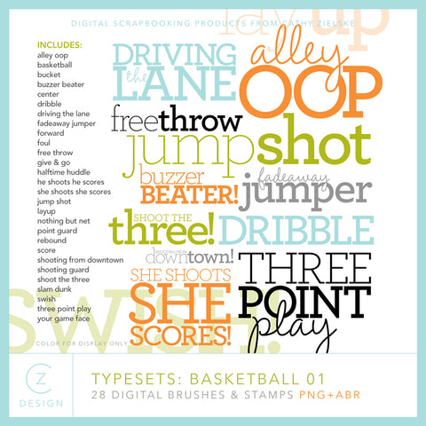 Typesets: Basketball 01 Digital Stamps