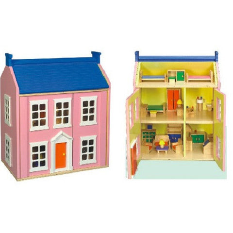 Pink Wooden Doll's House Including Furniture