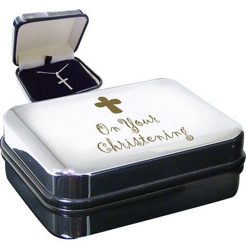 Sterling Silver Christening Cross Necklace In Presentation Box