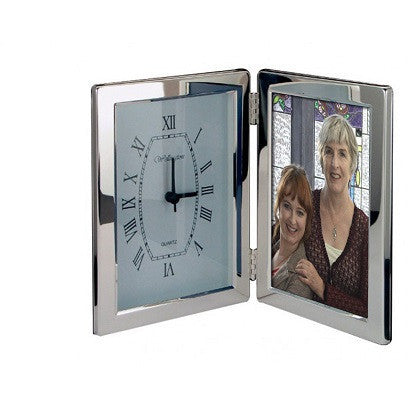 Silver Clock & 6x4 Photoframe