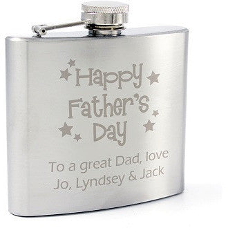 Stainless Steel Happy Father's Day Stars Hip Flask