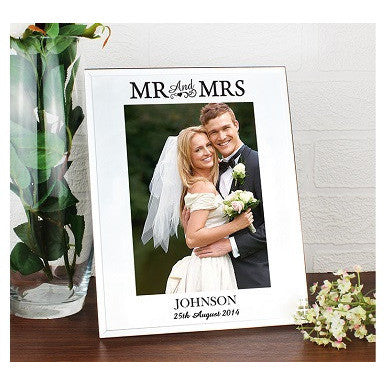 Mirrored Mr & Mrs Glass Frame