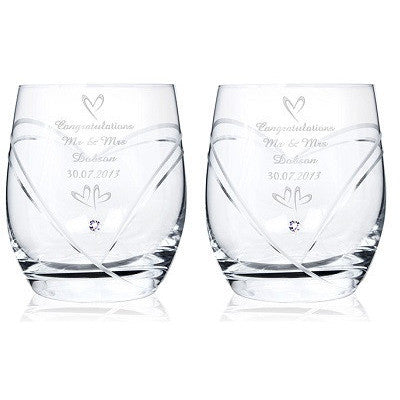 Hand Cut Small Hearts Set of Diamante Tumblers with Swarovski Elements