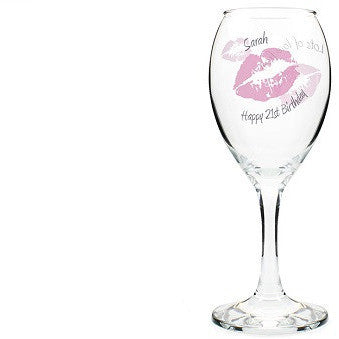 Kiss Wine Glass