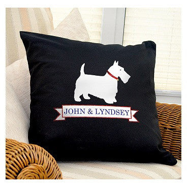 Scotty Dog Black Cushion Cover