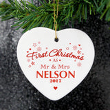 'Our First Christmas' Ceramic Heart Decoration