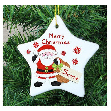 Felt Stitch Santa Ceramic Star Decoration