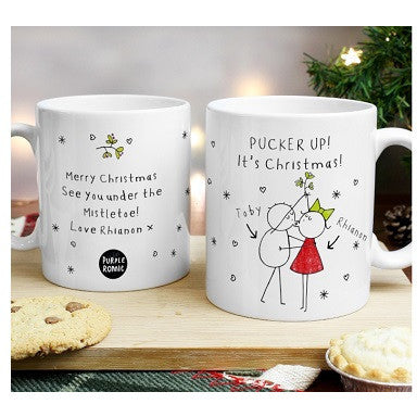 Personalised Purple Ronnie Christmas Couple Mug