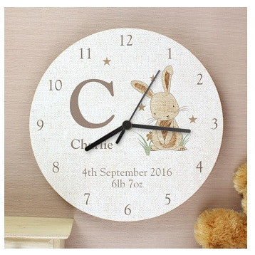 Hessian Rabbit Shabby Chic Large Wooden Clock
