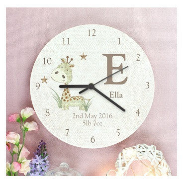 Hessian Giraffe Shabby Chic Large Wooden Clock