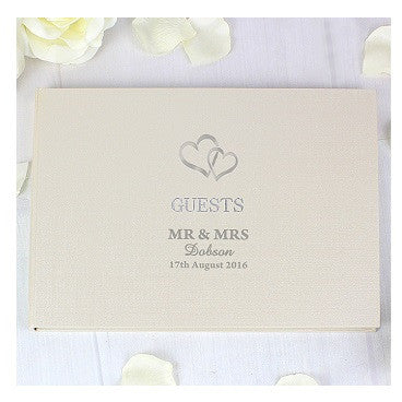 Hardback Guest Book Hearts Design