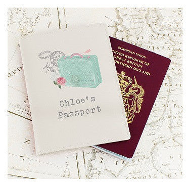 Vintage Suitcase Cream Passport Holder