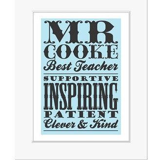 Teacher Poster Style Personalised Print