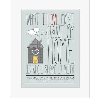 Personalised I Love My Home Print
