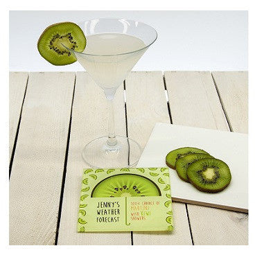It's Raining Cocktails! Square Glass Coaster