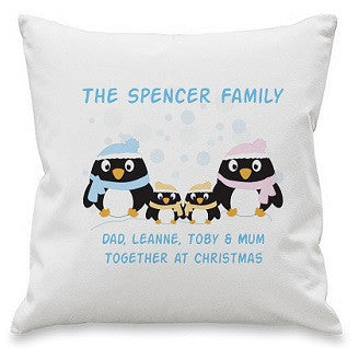 Personalised Penguin Family Cushion Cover
