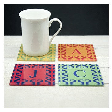 Set of Four Glass Coasters - Vibrant Design